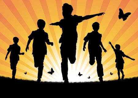 youth culture: Boys Running in the Sun Illustration
