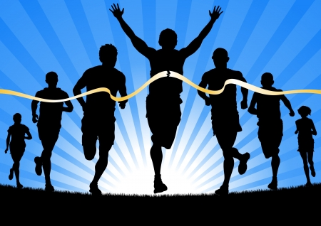 Atleta vincente davanti a un gruppo di maratoneti Vettoriali