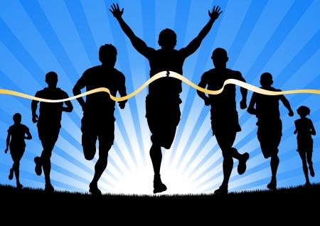 atletismo: Ganar deportista por delante de un grupo de corredores de maratón