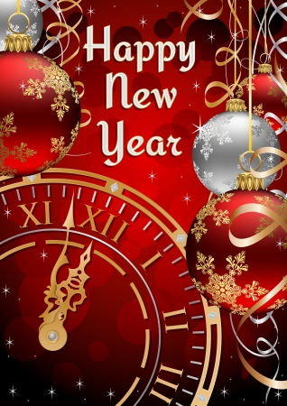 New Years Postcard with Clock Face, Ribbons and Baubles Vector