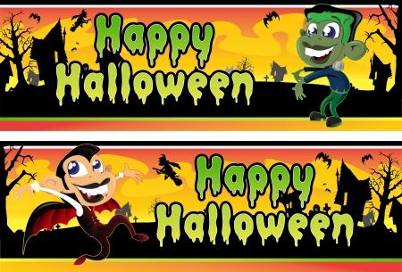Little Vampire and Frankenstein Halloween Banners  Stock Vector - 15730964
