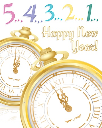 New Years Postcard with Pocket Watch  Vector