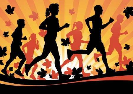 running woman: Running in the Autumn Leaves