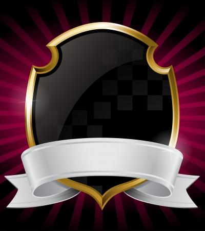 royal: Black Shield and Silver Ribbon