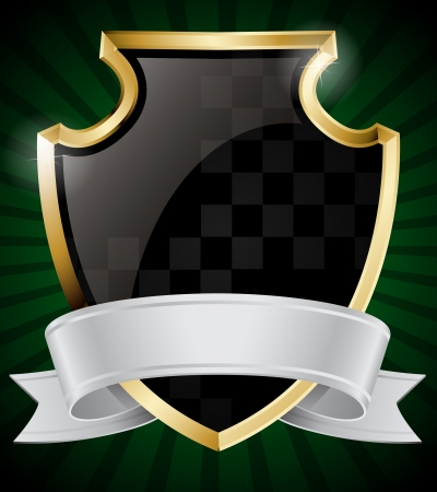 escudo de armas: Negro Blindaje y cinta de plata Vectores