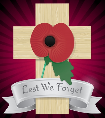 Remembrance Poppy on cross Vector
