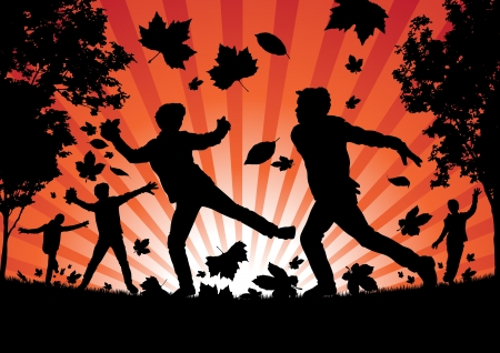 elementary age: Boys playing in the Autumn Leaves