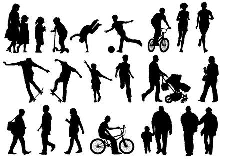stroller: Collection of Outdoors and Active People  Illustration