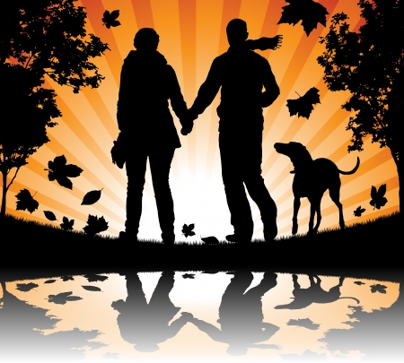 People walking their dog in the Autumn Leaves Vector