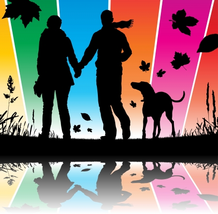 couples outdoors: People walking their dog Illustration