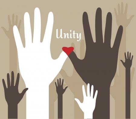racismo: Unidad abstracta Manos