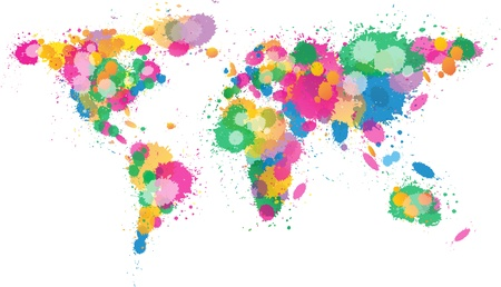 european maps: World Map Paint splattered