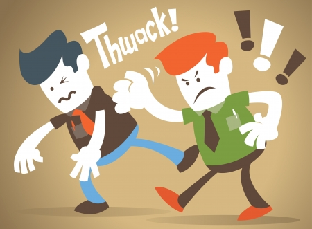 slap: Corporate Guy has a fight with his rival Illustration