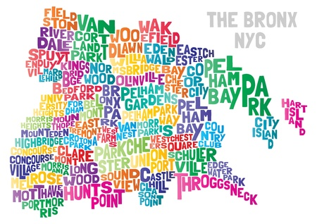 new york map: Bronx NYC Typographical Abstract