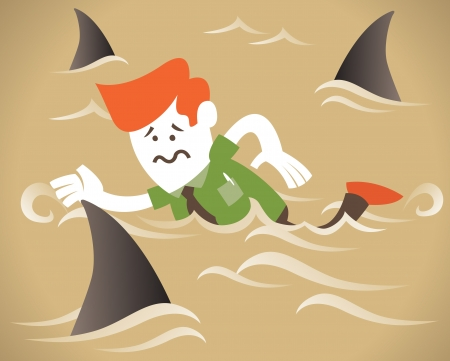 Corporate Guy swims with the sharks Stock Vector - 16461854