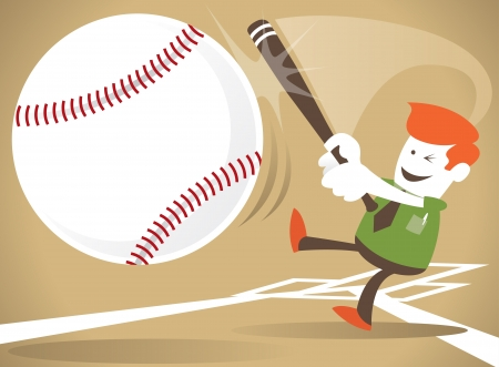 Corporate Guy Hits a Home Run Stock Vector - 16689274