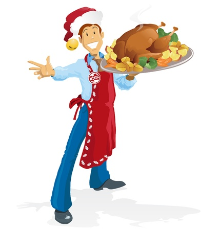 gourmet dinner: Happy Christmas Chef Illustration