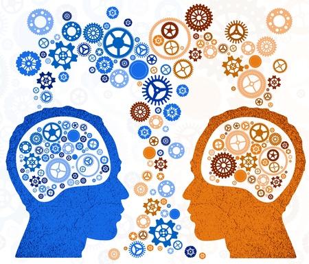 cerebros: Dos cabezas mejor Vectores
