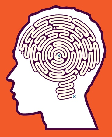 Brain Maze Puzzle Illustration