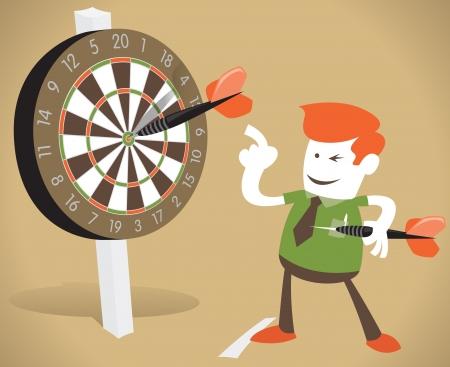 hits: Corporate Guy Hits a Bullseye Illustration