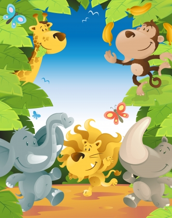 border cartoon: Fun Jungle Animals Border Illustration