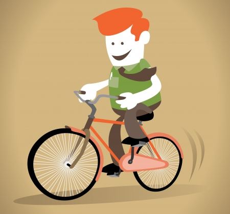bike riding: Corporate Guy rides his bicycle Illustration