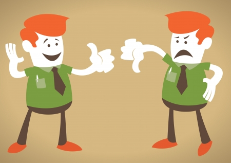 disagreement: Corporate Guy with Thumbs Up and Down Illustration