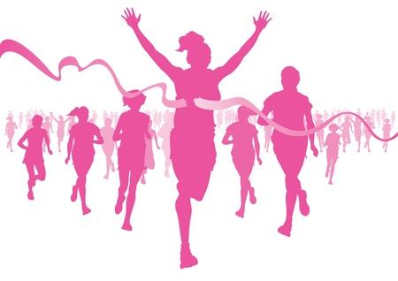 cancer de mama: Mujeres corriendo Vectores