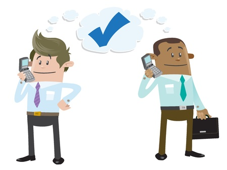 telefono caricatura: Compañeros de negocios hacer un trato por teléfono Vectores
