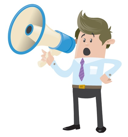 Business Buddy with Loudspeaker Stock Vector - 18561287