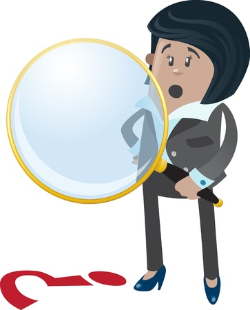 Businesswoman Buddy spies a clue Stock Vector - 18561283