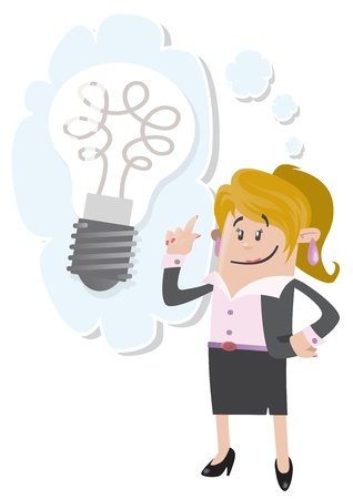 has: Businesswoman Buddy has a bright idea Illustration
