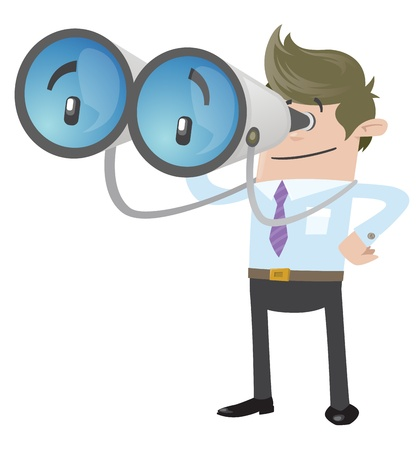 Business Buddy with his huge binoculars Stock Vector - 18561289