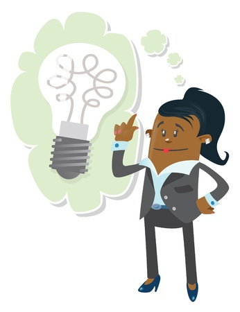 african woman at work: Businesswoman Buddy has a bright idea Illustration