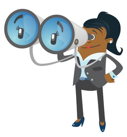 job searching: Businesswoman Buddy with his huge binoculars Illustration