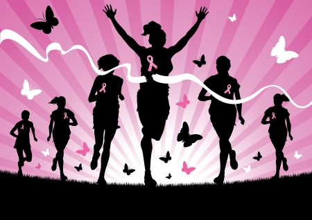 cancer ribbon: Women Running