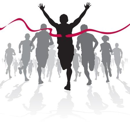 atleta corriendo: Ganar atleta cruza la l�nea de meta