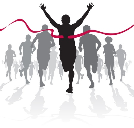 running race: Winning Athlete crosses the finish line  Illustration
