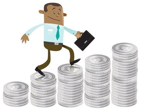 Business Buddy klettert das Geld Hügel