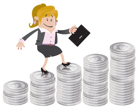 Businesswoman Buddy climbs up the money hill Stock Vector - 18818362