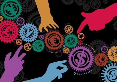 creative money: Money Cogs with Hands