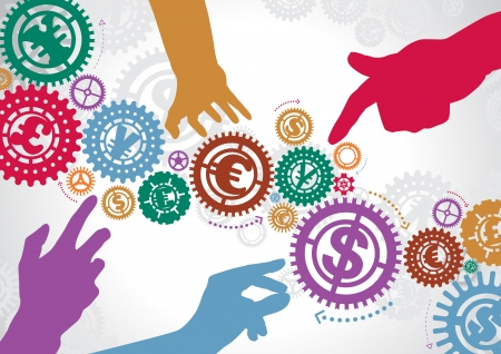 Abstract Cogs with Helping Hands Stock Vector - 18818363