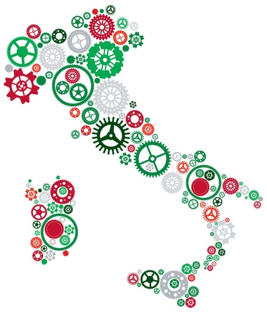 Italy Shaped Cogs Stock Vector - 18957201