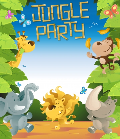 Jungle Party Border  Vector