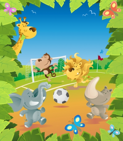 Jungle Animals Soccer Border Vector