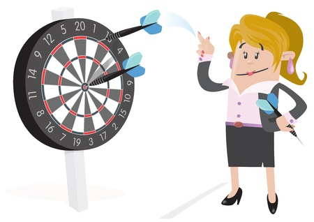 hits: Businesswoman Buddy Hits a Bullseye  Illustration