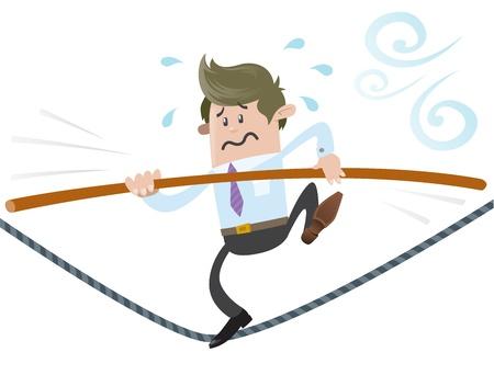 tightrope: Zakelijke Buddy loopt het koord Stock Illustratie