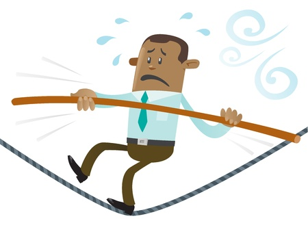 Ethnic Business Buddy walks the tightrope Stock Vector - 19490519