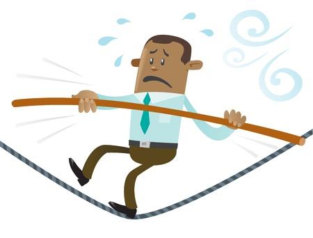 tightrope: Etnische Zaken Buddy loopt het koord Stock Illustratie
