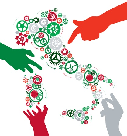 Hands make Italy work Stock Vector - 19692171